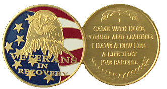 WBRB114 Painted Veteran's Recovery Medallion