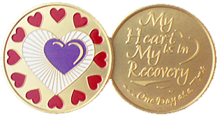 WBRB060 Painted Heart in Recovery Medallion