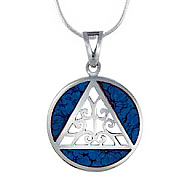 SJ-P36T Sterling Silver AA Pendant with Turquoise Inlay