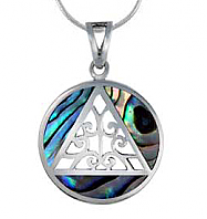 SJ-P36A Sterling Silver AA Pendant with Abalone Inlay