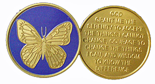 WBRB006 Painted Butterfly Serenity Prayer Medallion