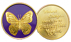 WBSC2006P Painted Butterfly Change Medallion