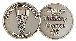WBSC119N-G Antiqued Drug Court Graduation Medallion