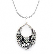 SJ-P66 Sterling Silver AA Angel Wings Pendant