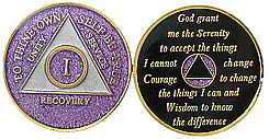 GLP Purple Glitter Triplated Anniversary Medallion